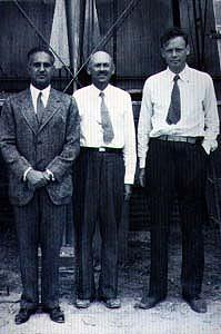 Harry F. Guggenheim, Dr. Robert H. Goddard, and Charles A. Lindbergh